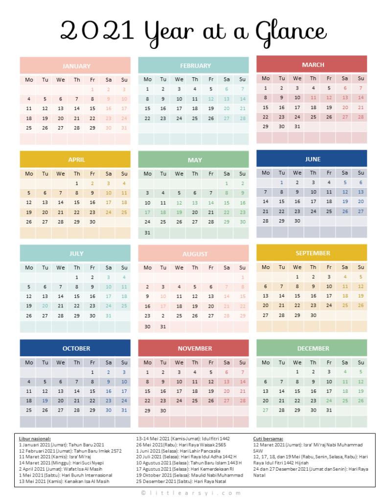 Kalenderblatt 2021 / Kalender Libur Nasional Indonesia ...
